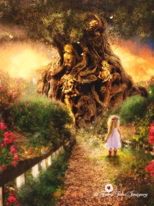 A little girl visits at twilight hour a magical and enchanting dryad ancient tree in a beautiful garden listening as the dryads whisper softly tales of old. © 2015 Fairy Tales Imagery, Inc. All rights reserved.