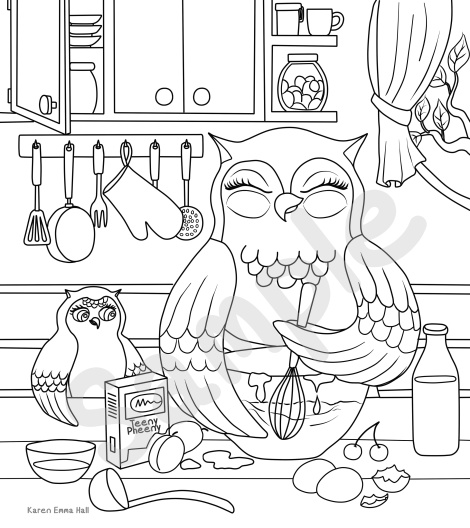 sample watermarked kitchen teeny pheeny colouring page
